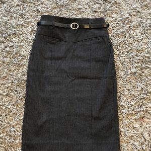 Blue pinstripe high waisted pencil skirt